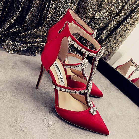 Charmerende Rød Selskabs Sandaler Dame 2020 Læder Rhinestone T-Strap 9 cm Stiletter Spidse Tå Sandaler