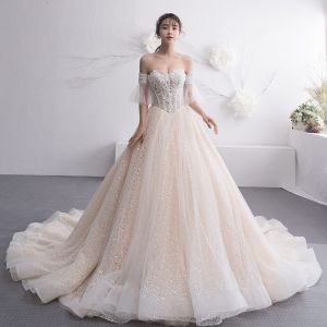 Elegant Champagne Wedding Dresses 2019 A-Line / Princess Off-The-Shoulder 1/2 Sleeves Backless Beading Pearl Chapel Train Ruffle