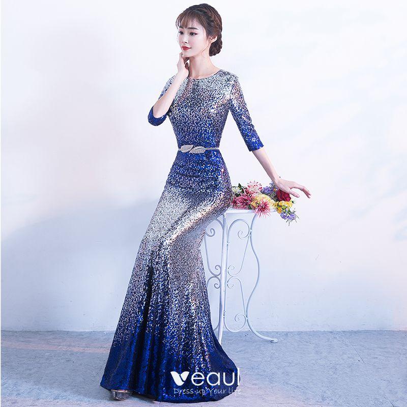 Sparkly Silver Royal Blue Sequins Evening Dresses 2017