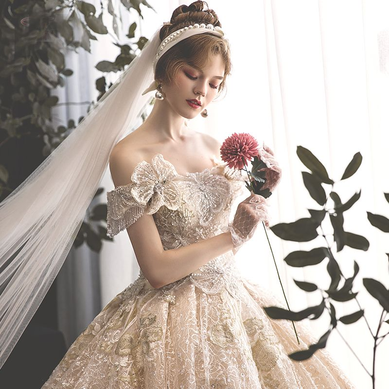 Luxury / Gorgeous Champagne Wedding Dresses 2019 Ball Gown Off-The-Shoulder Beading Tassel Pearl Crystal Lace Flower Rhinestone Sequins Short Sleeve Backless Cathedral Train