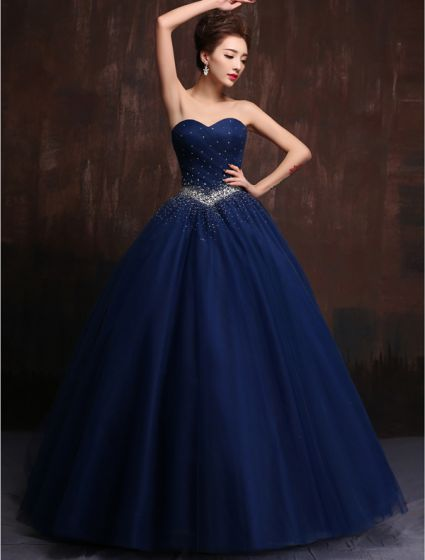 Glitter Sweetheart Beading Rhinestones Ruffles Tulle Royal Blue Prom Dress