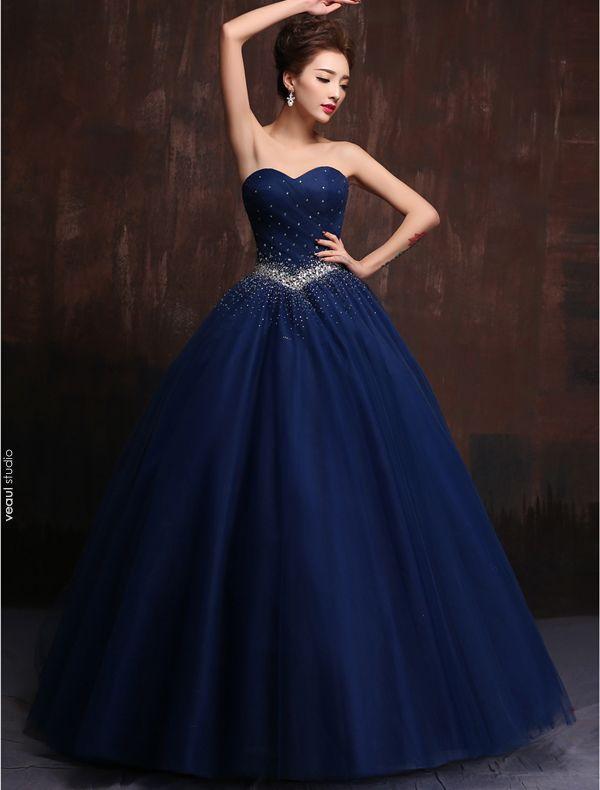 Glitter Sweetheart Beading Rhinestones Ruffles Tulle Royal Blue Prom Dress