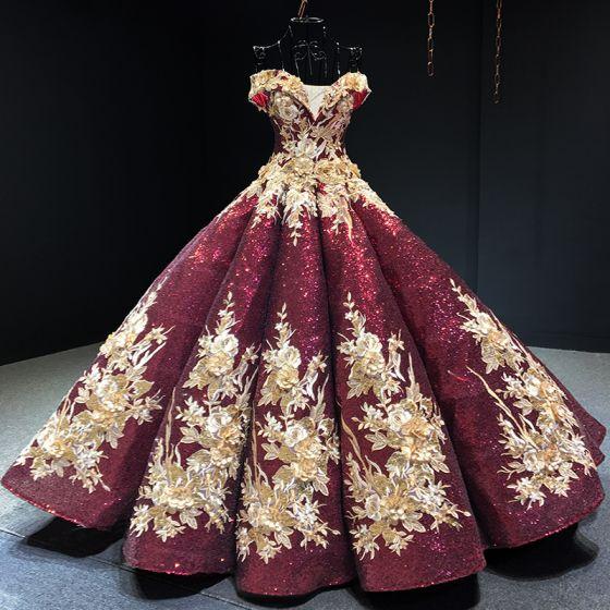 Brillante Borgoña Lentejuelas Bailando Vestidos de gala 2020 Ball Gown Fuera Del Hombro Manga Corta Apliques Flor Rebordear Largos Ruffle Sin Espalda Vestidos Formales
