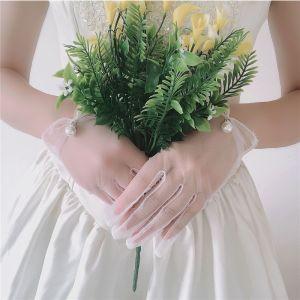 Schlicht Weiß Brauthandschuhe 2020 Perlenstickerei Perle Tülle Ball Hochzeit Brautaccessoires