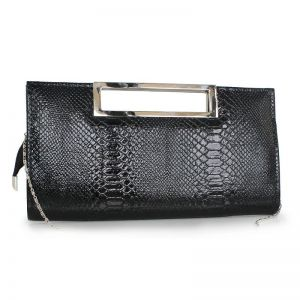 Modest / Simple Black Clutch Bags Striped Snakeskin Print Metal Cocktail Party Evening Party Accessories 2019