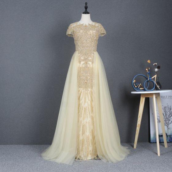 Illusion Jaune Robe De Bal 2020 Princesse Transparentes Encolure Dégagée Manches Courtes Perlage Paillettes Train De Balayage Volants Robe De Ceremonie