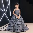 Silver Glitter Flower Girl Dresses 2019 A-Line / Princess Amazing / Unique Shoulders Sleeveless Court Train Cascading Ruffles Backless Wedding Party Dresses