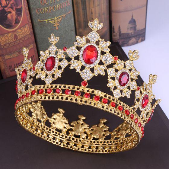 Vintage / Retro Gold Tiara Bridal Hair Accessories 2020 Alloy Red Rhinestone Wedding Accessories