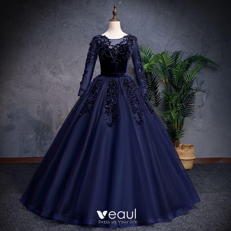 e502fc5c Elegant Mørk Marineblå Gallakjoler 2019 Prinsesse Scoop Neck Beading Perle  Suede Blomsten Langærmet Lange Kjoler