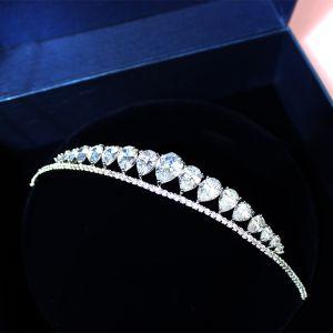 Brudsmycken 2017 Eleganta Silver Kristall Rhinestone Metall Tiara