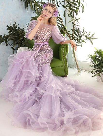 Stunning Prom Dresses 2016 Mermaid Scoop Neck Applique Flowers Ruffled Organza Prom Dress
