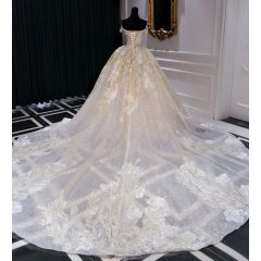 Luxury / Gorgeous Champagne Wedding Dresses 2019 Ball Gown Off-The-Shoulder Beading Pearl Sequins Lace Flower Short Sleeve Backless Cathedral Train