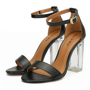 Enkel Svart Gateklær Sandaler Dame 2020 Ankelstropp 10 cm Tykk Hæler Peep Toe Sandaler