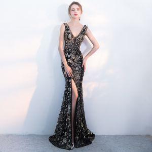 Unique Schwarz Gold Abendkleider 2017 Mermaid Pailletten V-Ausschnitt Rückenfreies Ärmellos Lange Festliche Kleider
