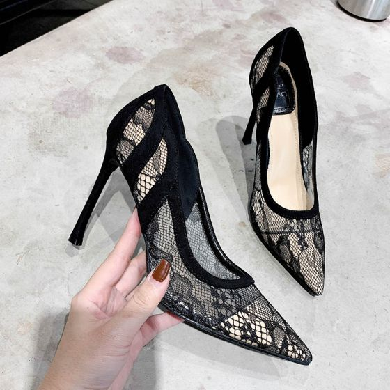 Charming Black Evening Party Lace Pumps 2020 10 cm Stiletto Heels Pointed Toe Pumps
