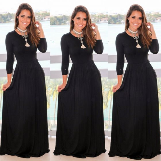 Modest / Simple Black Maxi Dresses 2018 Empire Scoop Neck Long Sleeve Floor-Length / Long Womens Clothing