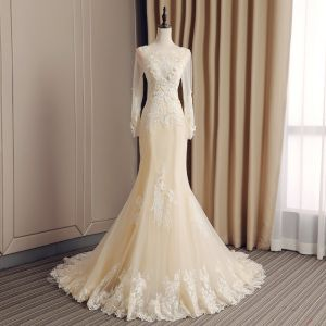 Elegant Champagne See-through Wedding Dresses 2019 Trumpet / Mermaid Scoop Neck Long Sleeve Backless Appliques Lace Rhinestone Beading Court Train Ruffle