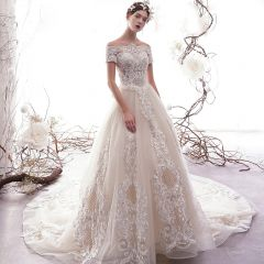 Classy Champagne Pierced Wedding Dresses 2019 A-Line / Princess Off-The-Shoulder Short Sleeve Backless Appliques Lace Beading Glitter Tulle Chapel Train Ruffle
