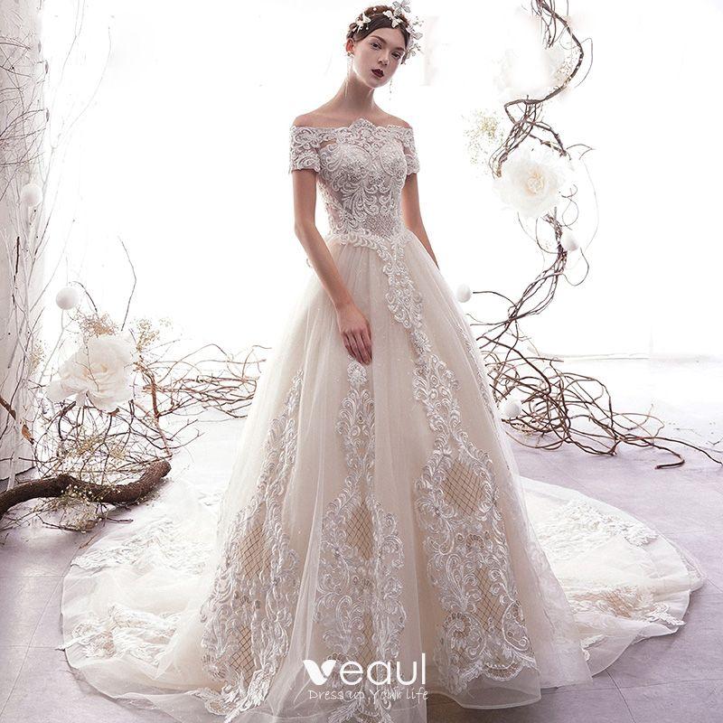 3d92a2785c36b Classy Champagne Pierced Wedding Dresses 2019 A-Line / Princess Off ...