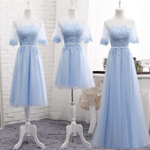 Chic / Beautiful Sky Blue See-through Summer Bridesmaid Dresses 2018 A-Line / Princess Scoop Neck Short Sleeve Appliques Lace Sash Ruffle Backless Wedding Party Dresses