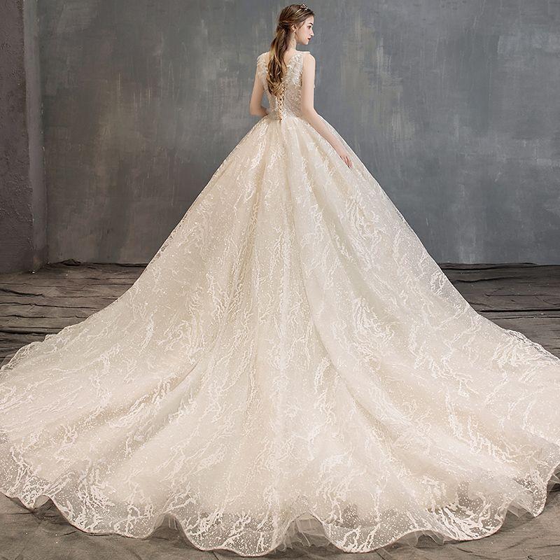 Elegant Champagne Wedding Dresses 2019 A-Line / Princess V-Neck Lace Flower Sleeveless Backless Cathedral Train