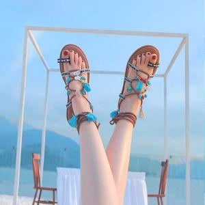 Mode Böhmen Braun Sandalen Damen Strand Leder Sommer Perlenstickerei Riemchen Quaste Flache Sandaletten Damenschuhe 2019