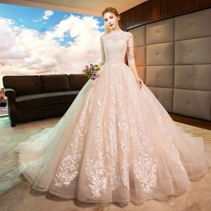 Elegant Champagne Wedding Dresses 2019 A-Line / Princess High Neck Lace Flower 1/2 Sleeves Backless Cathedral Train