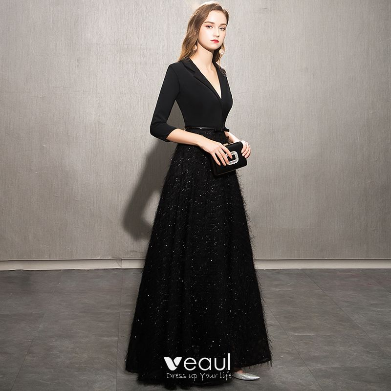 Elegantes Negro Vestidos De Noche 2019 A Line Princess V Cuello Bowknot Lentejuelas Tassel 34 ærmer Largos Vestidos Formales