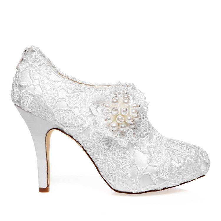 Luxury Bridal Ankle Boots 2016 Stiletto High Heels White Lace Wedding Shoes With Pearl