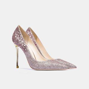 Charmant Glitter Paarse Pailletten Avond Pumps 2021 Leer 10 cm Naaldhakken / Stiletto Spitse Neus Pumps