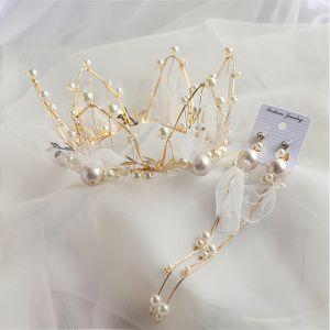 Charmant Doré Bijoux Mariage 2020 Alliage Perle Tiare Gland Boucles D'Oreilles Accessoire Cheveux Mariage