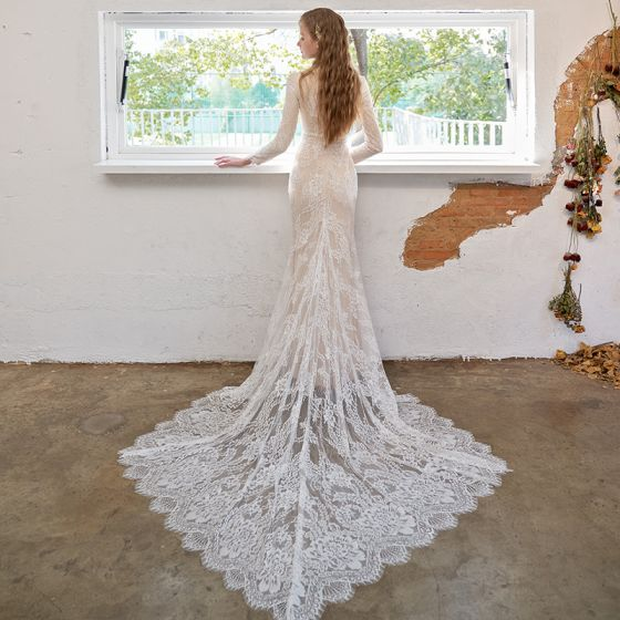 Eleganta Champagne Spets Bröllopsklänningar Blomma 2021 Trumpet / Sjöjungfru Hög Hals Långärmad Domstol Tåg Bröllop