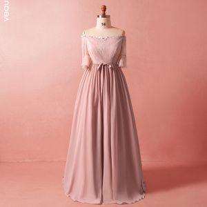Klassisk Elegant Rødmende Rosa Pluss Størrelse Selskapskjoler 2018 Chiffon Appliques Ryggløse Aften Formelle Kjoler