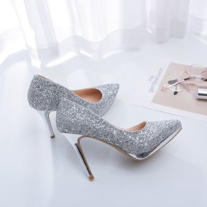 Sparkly Silver Wedding Shoes 2019 Leather Sequins 12 cm Stiletto Heels Pointed Toe Wedding Pumps