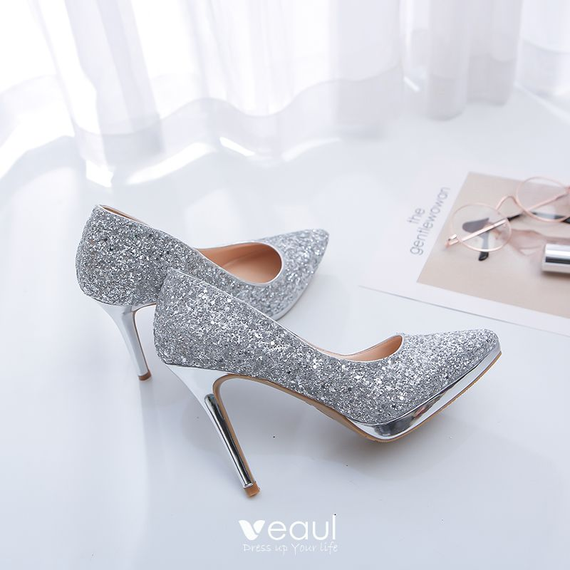 571895d5e07 Sparkly Silver Wedding Shoes 2019 Leather Sequins 12 cm Stiletto ...