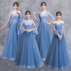 Elegant Ocean Blue See-through Bridesmaid Dresses 2018 A-Line / Princess Long Sleeve Appliques Lace Floor-Length / Long Ruffle Backless Wedding Party Dresses