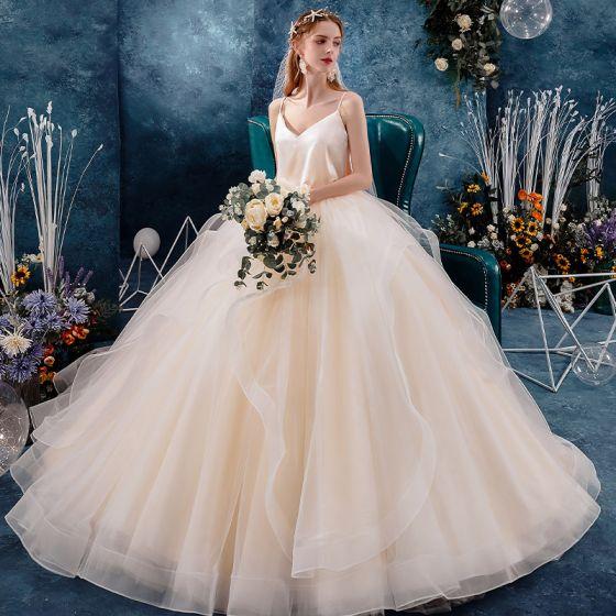 Affordable Champagne Silk Outdoor / Garden Wedding Dresses 2019 Ball Gown Spaghetti Straps Sleeveless Backless Floor-Length / Long Ruffle