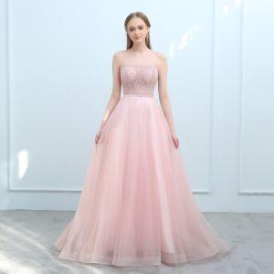 Moderne / Mode Perle Rose Robe De Soirée 2018 Princesse Amoureux Sans Manches Ceinture Perlage Tribunal Train Volants Dos Nu Robe De Ceremonie