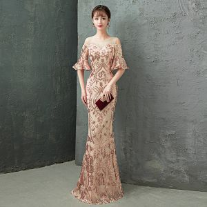 Charming Champagne Evening Dresses  Trumpet / Mermaid 2019 Scoop Neck Sequins Rhinestone Bell sleeves Floor-Length / Long Formal Dresses