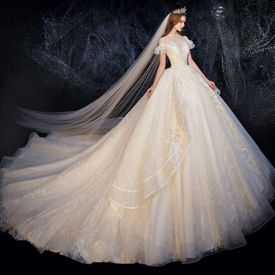 Vintage / Retro Champagne See-through Bridal Wedding Dresses 2020 Ball Gown High Neck Puffy Short Sleeve Backless Glitter Appliques Lace Cathedral Train Ruffle