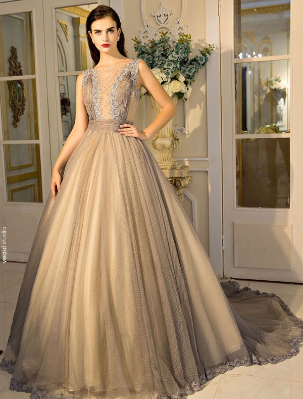 Elegant Tulle Prom Dress 2017 Beaded Ball Gown With Lace