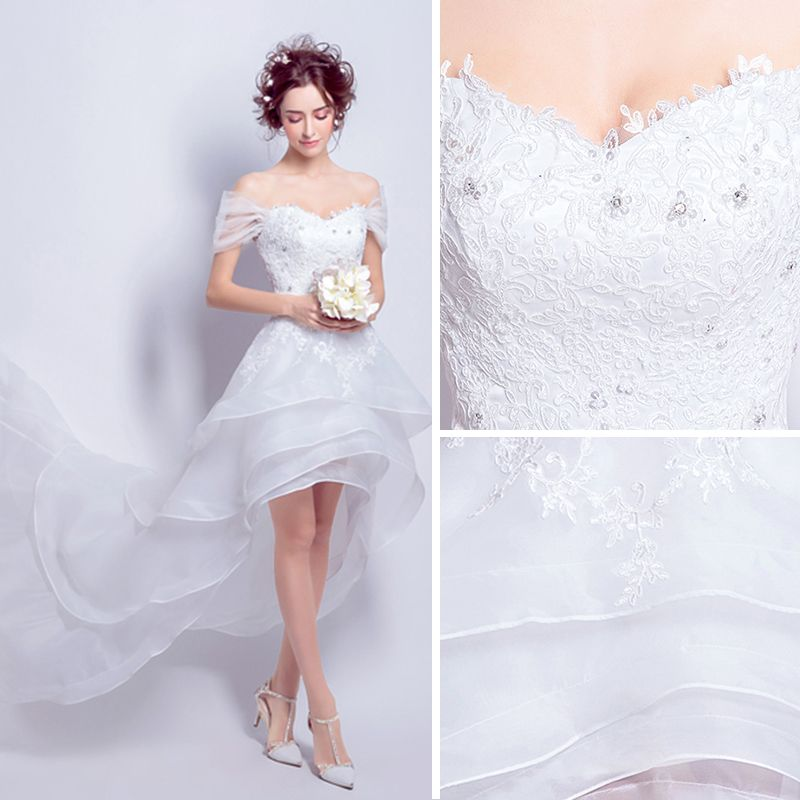 High Low White Organza Summer Beach Wedding Dresses 2018 A-Line / Princess Off-The-Shoulder Short Sleeve Backless Appliques Lace Asymmetrical Cascading Ruffles