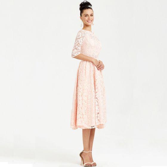 Schöne Rosa Abendkleider 2020 A Linie 1/2 Ärmel Wadenlang V-Ausschnitt Perlenstickerei Kristall Stickerei Strass Cocktail Abend Festliche Kleider