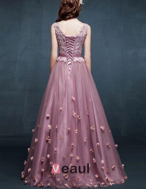 2015 Schultern V-ausschnitt Gestickte Blumen Ballkleid Abendkleider Günstig