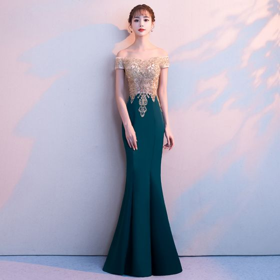 Elegant Dark Green Evening Dresses 2018 Trumpet Mermaid Lace