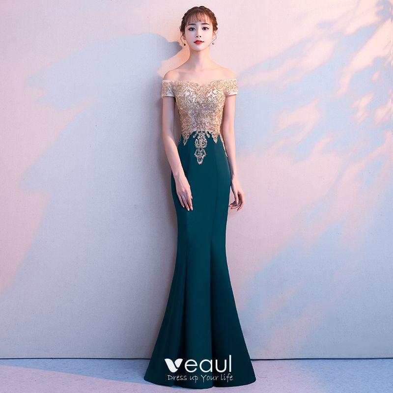 5f65a78b1e6 Elegant Dark Green Evening Dresses 2018 Trumpet / Mermaid Lace ...