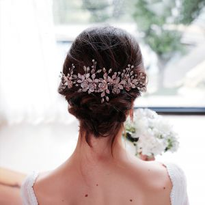 Eleganta Rosa Guld Hårsmycken Brud Huvudbonad 2020 Legering Blad Rhinestone Bröllop Tillbehör