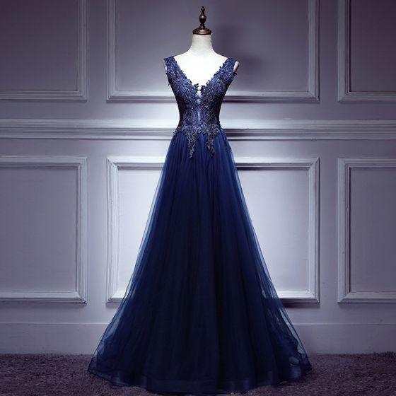 Modern / Fashion Royal Blue Evening Dresses  2017 A-Line / Princess Lace Tulle V-Neck Backless Beading Evening Party Formal Dresses