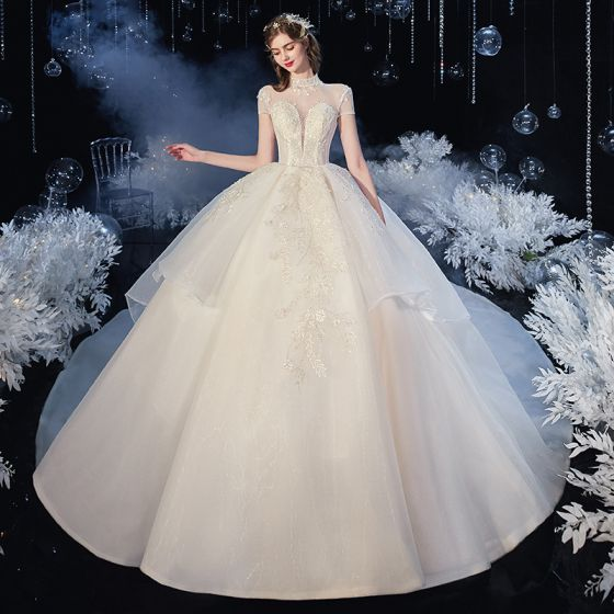 Vintage / Retro Champagne Organza Bridal Wedding Dresses 2020 Ball Gown See-through High Neck Short Sleeve Backless Appliques Lace Beading Cathedral Train Ruffle