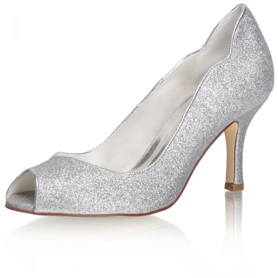 Sparkly Silver Glitter Wedding Shoes 2021 8 cm Wedding Stiletto Heels Open / Peep Toe High Heels